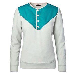 Cotopaxi Sabado Fleece Snap Crewneck Pullover Sweater Medium Grey Teal Pink